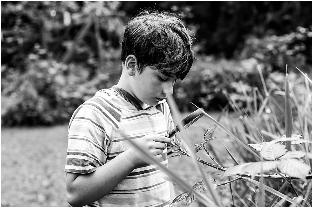 Apollo using a magnifying glass. Nature journal kids.