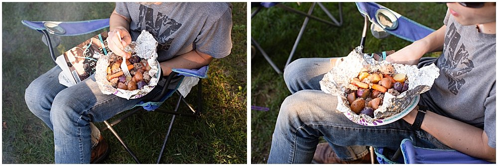 Foil dinners while camping.