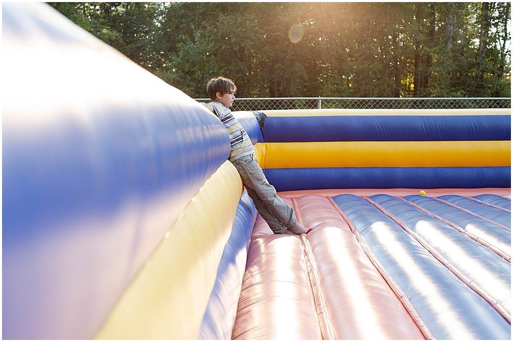 Apollo in the bouncy house.