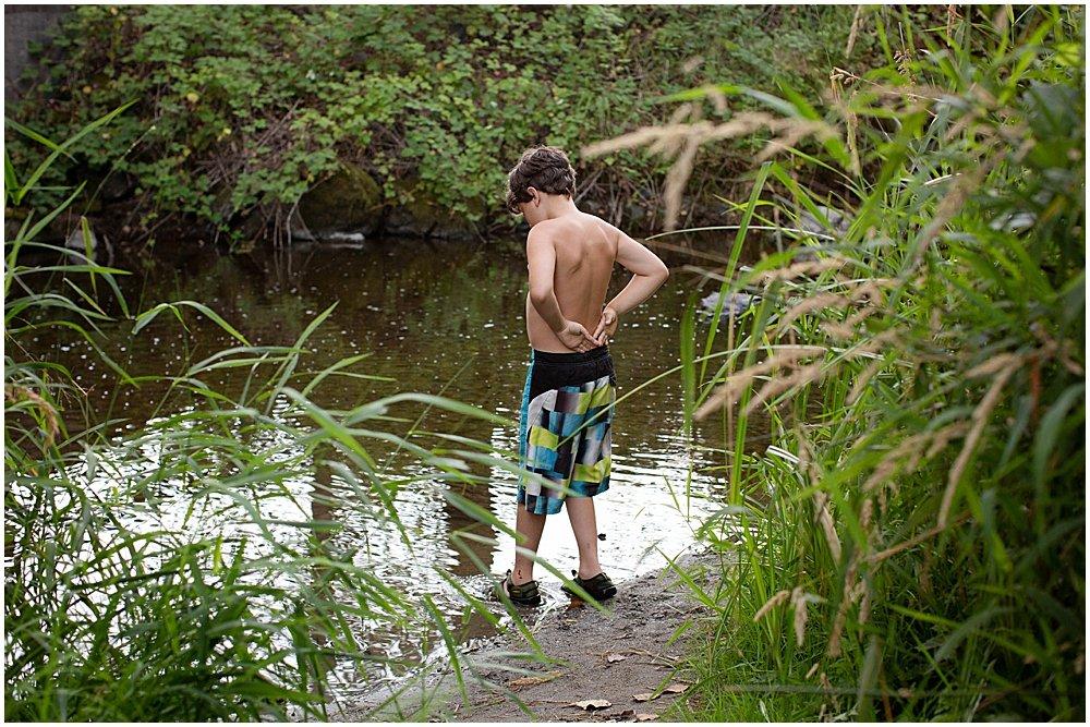 Apollo going into the creek at the KOA