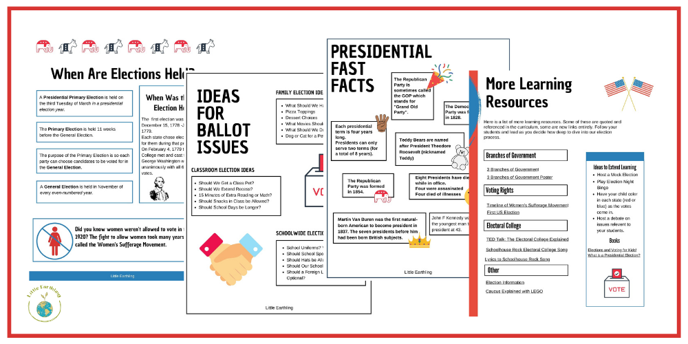 Activities to teach kids about elections and voting.