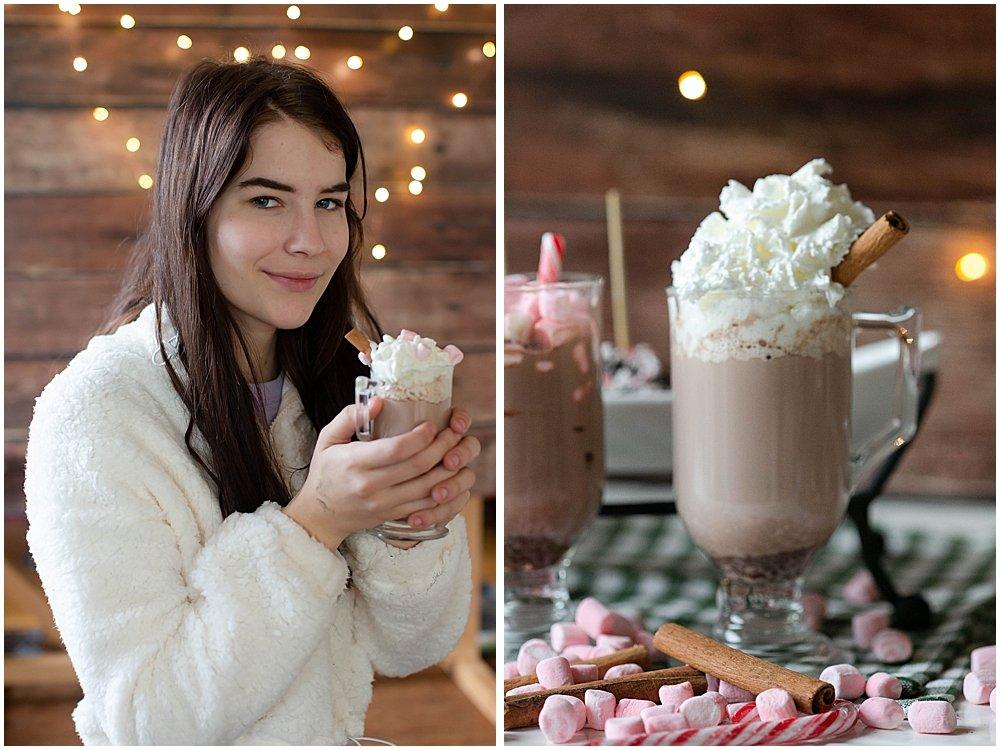 Kalina enjoying hot chocolate on a stick.
