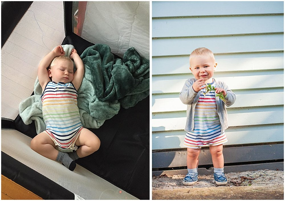 Abel looks adorable in this rainbow romper from Primary.com.