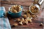 Caramel popcorn in aqua dish.