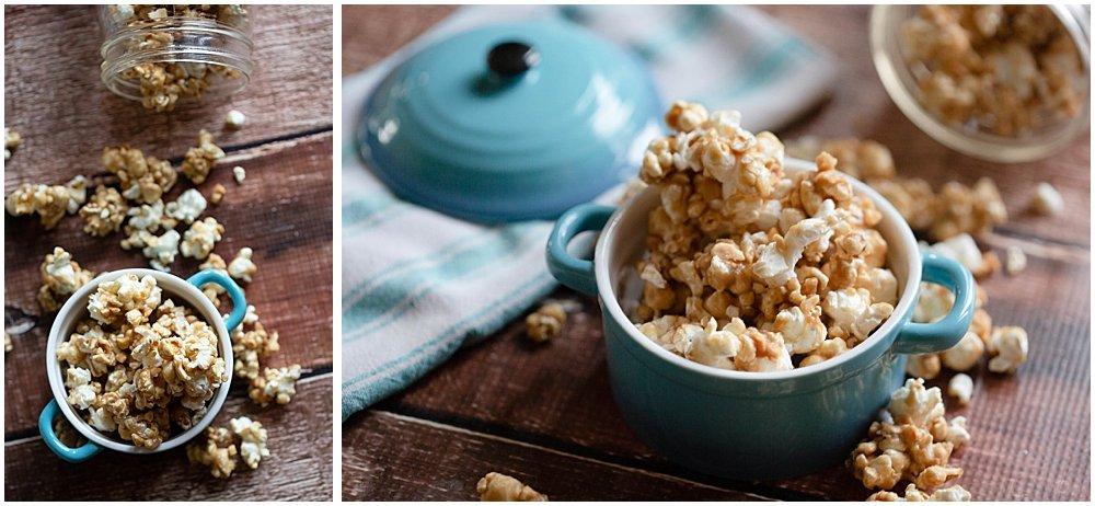 Caramel popcorn in a blue dish.