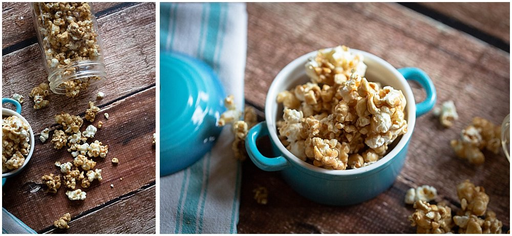 Popcorn spilling out of blue dish.