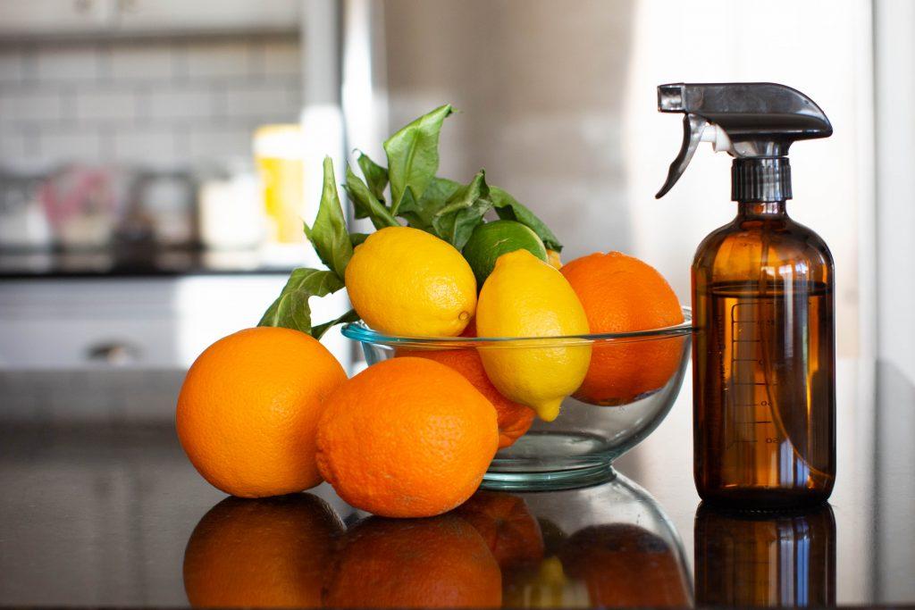 Homemade vinegar and orange cleaner.