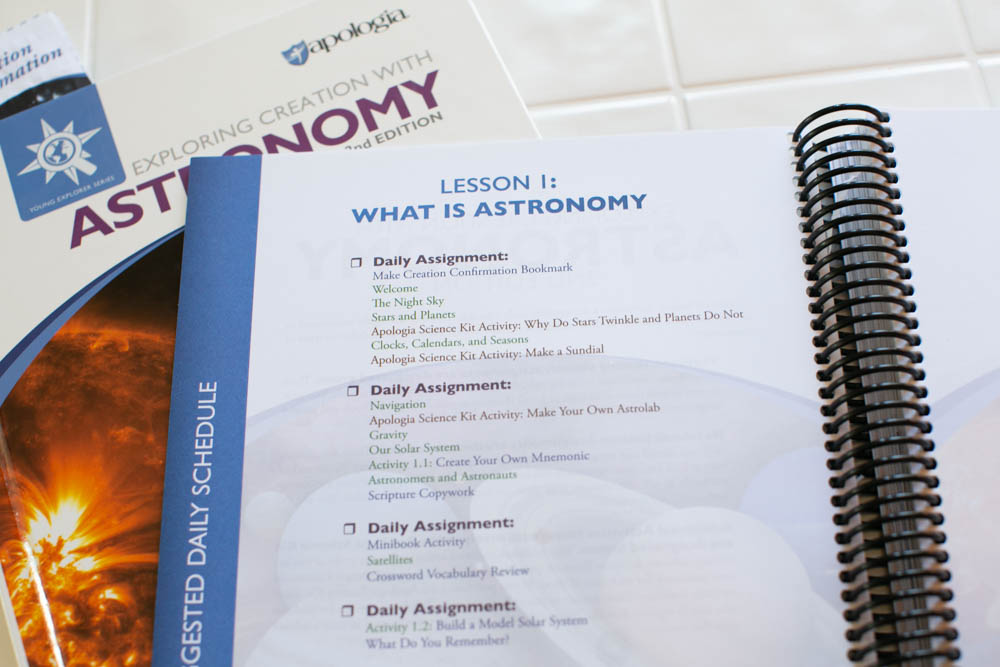 Exploring Creation with Astronomy has each lesson laid out for easy reference.