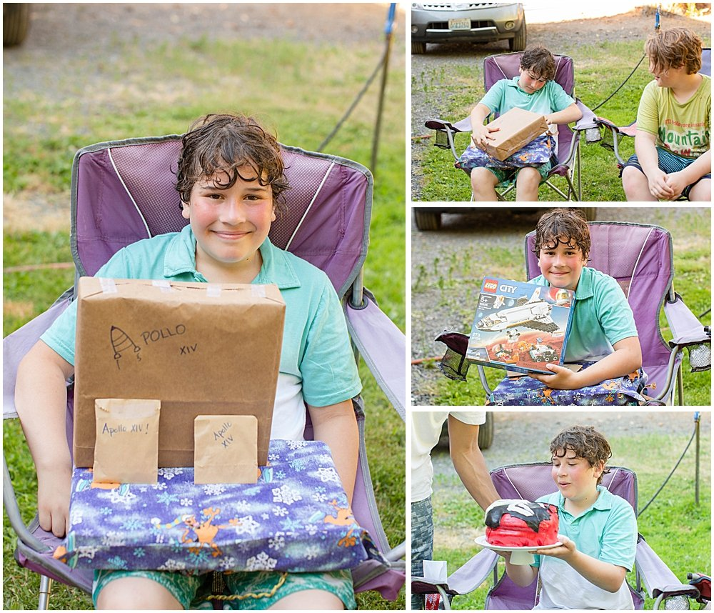 Apollo opening gifts on his 11th birthday.