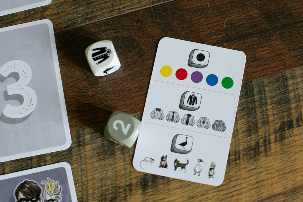 The Astute Goose review: the player rolls the dice to determine which attributes of the burglar he needs to recall.